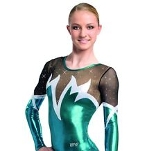 Gymnastikanzug Turnanzug ERVY Metallic+viel Strass Gr. 36 *Sienna*