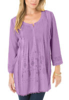 Womens plus size 18 to 32 top purple 3/4  sleeve longer length loose fit top