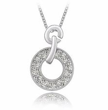 18K Gold GP SWAROVSKI Element Classic Ring Pendant Necklace Silver