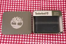 Timberland Black Leather Banker Bifold Men's Wallet Pin Strip New #FREE SHIPPING