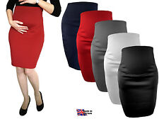 MATERNITY PLAIN STRETCH PENCIL BODYCON MIDI SKIRT OVER BUMP PREGNANCY UK MADE