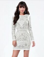 NWT bebe white bianca stud embellished qulited textured long sleeve top dress XS