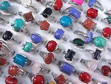 US SELLER |wholesale lot 20pcs fashion rings with genuine agate gemstones