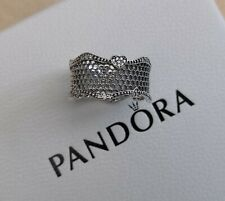 NEW Pandora Pave Hearts Lace Ring Sterling Silver Box Bag Size 56 RRP £90