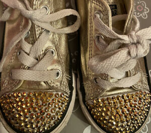 Toddler Metallic Gold Converse Sneakers, Size 8, Pre-owned