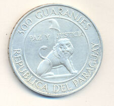 PARAGUAY 300 GUARANIES 1973 LION SILVER CROWN KM 29 STROESSNER XF CONDITION