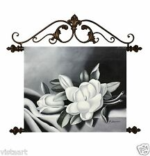 """Oil Painting On Canvas Tapestry W/Metal Rods 20""""x24""""- Black and White Flower"""