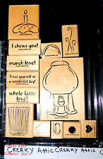 STAMPIN UP TREAT YOURSELF 13 RUBBER STAMPS GUMBALL MACHINE CUPCAKE