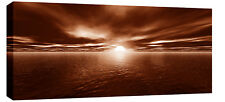 """X Large Brown Canvas Picture Sunset Sea Seascape 44""""x20"""