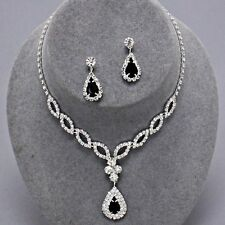 Pendant Clear Rhinestone Earrings Necklace Set Silver Black Jet Eight Oval Charm