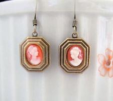 CAMEO EARRINGS Art Deco Victorian Dainty Dangle Wedding Bridesmaid Jewelry