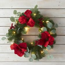 Lighted LED Holiday Wreath with Faux Holly Berry and Leaf Accents