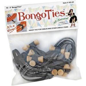 BongoTies All Natural Reusable Cable Tie Wraps - 10-Pack - Black