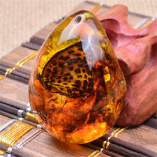 Fashion Beautiful Resin Amber Butterfly Insect Stone Pendant Necklace Z