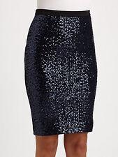 Catherine Malandrino Navy Blue Sequined Stretch Pencil Skirt .NWT Sz.2