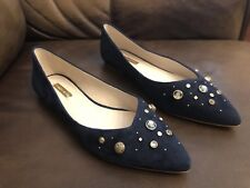 "LOUISE et Cie Women's Size 8.5M ""Alwick""Blue Embellished Pointy Toe Flats NEW"