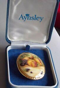 Lovely Aynsley Porcelain China Oval Shaped Vintage Brooch
