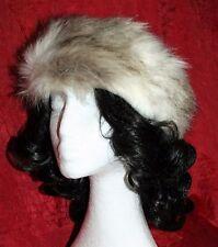 "Luxury Faux Fur Winter Headband Ivory & Brown BNWT Hat Satin-Lined 3.5""Wide"