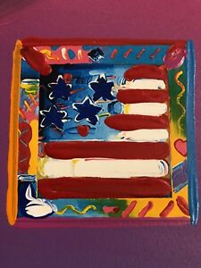 "Peter Max, ""AMERICAN FLAG"" Mixed Media Signed Painting"