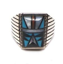 Zuni Handmade Multi Color Inlay Sterling Silver Ring Size 9