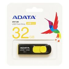 NEW 32GB USB 3.1 Flash Drive Adata UV128 Retractable Capless Thumb Black Yellow
