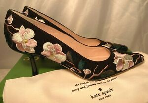 Kate Spade Womens Lynne Black Floral Embroidered Heels 4.5 5.5 6.5 & 7.5 rrp£338