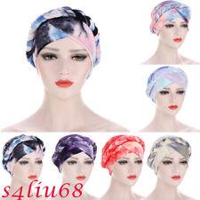 Tie Dry Muslim Women Hijab Braid Chemo Cap Cancer Turban Head Scarf Hat Cover