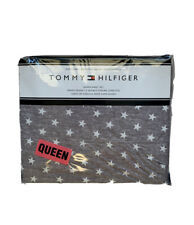 New Tommy Hilfiger Queen Sheet set Gray with White Stars 4pc set
