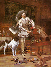Hand painted Oil painting Viry Paul Alphonse The Falconer Man with hawk dog Prey
