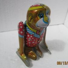 Vintage Made in China Tin Wind Up Toys MS Code 1970-80s CLOWN MONKEY DOING FLIPS