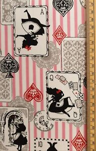Alice in Wonderland fabric UK 100% cotton material playing cards characters
