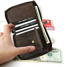 Men Bifold Zip Around Secure Crecit Card Coin Change Front PocketsLeather Wallet