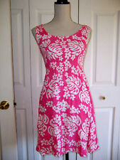 Pink And White Dress Floral Print Sleeveless above knee smocked M Juniors