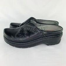 KLOGS Platform Mule Clogs Womens Size 9.5 Black Leather Slip-Ons