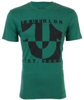 TRUE RELIGION Mens T-Shirt HORSESHOE SPLIT Green w Black Print $69 Jeans NWT