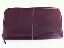 "STRADA Women's Checkbook Wallet Brown Leather Zipper Closure 7"" x 4"" x 1"""