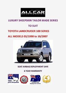 Tailor Made to fit Toyota Landcruiser 100 Series  Sheepskin Car Seat covers.