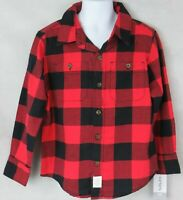Carter's Kid Boys Plaid Button Down Shirt 4/5 Black Red New