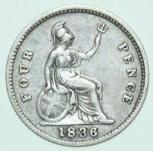 1836 GROAT/FOURPENCE, BRITSH SILVER COIN FROM WILLIAM IV GF/VF