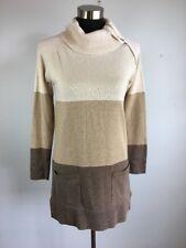Eight Eight Eight Sweater S Tunic Beige Brown Stripe Pockets Cowl Zipper Cotton