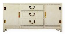 Vtg Fretwork Sideboard Asian Lacquer Buffet White Furniture Co Hollywood Regency