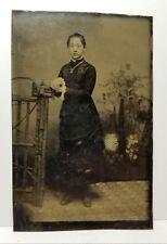 Tintype girl in black dress c.1870s, original photo, mourning? antique, old