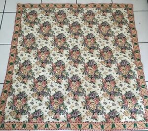 """Vintage Tapestry Woven Art New York Floral Roses!  56.5""""x56.5"""" Table Cloth"""