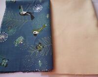 2 St. Stoffreste Stoffpaket Patchworkstoffe Baumwolle Tiere Vögel blau