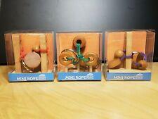 Lot of 3 Rope Mini Wood Brain Puzzles Mastermind Toys