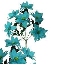 "Lot of 144 Turquoise Poinsettia 14"" Bush Christmas Decor Artificial Flower Home"