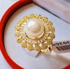 Pearl & Simulated Diamond Gold Tone Brass Ring Size V