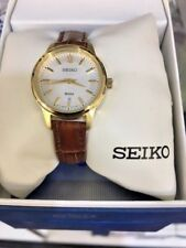 Seiko Classic White Dial Ladies Brown Learher Watch