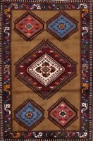 Geometric Tribal Yalameh Area Rug Wool Hand-Knotted Oriental Diamond Carpet 3x4