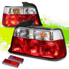 FOR 92-98 BMW E36 3-SERIES 4DR CLEAR HOUSING RED LED REAR SIGNAL TAIL LIGHTS